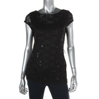 Onyx Nite Womens Lace Cap Sleeves Dress Top