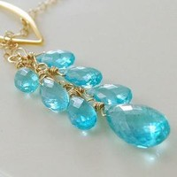 Apatite and Gold Lariat Necklace by livjewellery on Etsy