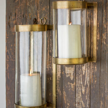 Large Glass & Antique Brass Finish Wall Mounted Hurricane