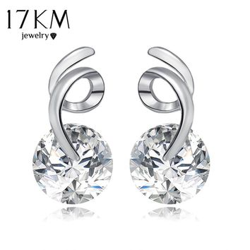 17KM New Design Geometric CZ Zircon Letter Earrings For Women Silver Color Alloy Crystal Stud Earrings Fashion Jewelry