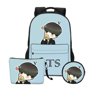 Boys bookbag trendy VEEVANV Fashion Gils  Children Backpacks Boys Shoulder Bags School Bags Set Women BTS Cartoon Organizer Printing Notebook AT_51_3
