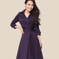 Autumn women's ol slim waist slim elegant half sleeve big plus size XXXL one-piece dress = 1958179140