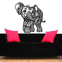 Elephant Wall Decal Stickers Floral Patterns Yoga Decals Home Decor Indie Wall Art Boho Bedding Nursery Bedroom Dorm Design Interior ZX101