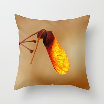 Last Glow of Fall, Fine Art Photography, Throw Pillow Cover, Autumn Colors, Rustic Decor, Macro Seed Pod, Tree Photo, Warm Orange, Botanical