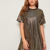 Short Sleeve Sequin Panel Front Dress
