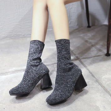 High Heel Dr. Martens Winter Star Stretch Boots Socks [9013544004]