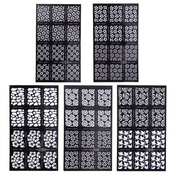 Fashion DIY Ultrathin Various Styles Hollow Nail Art Template Stencil Stickers Airbrush Decal Stamp Nail Art Sticker Decal
