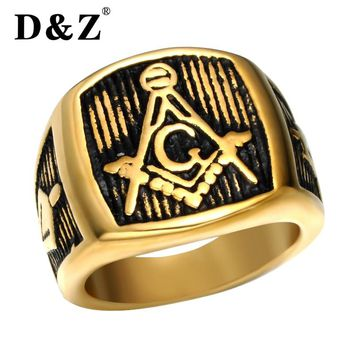 D&Z Vintage Freemasonry Masonic Rings of Men Gold Silver Stainless Steel Retro Free Masonic Signet Male Ring Punk Jewelry Band