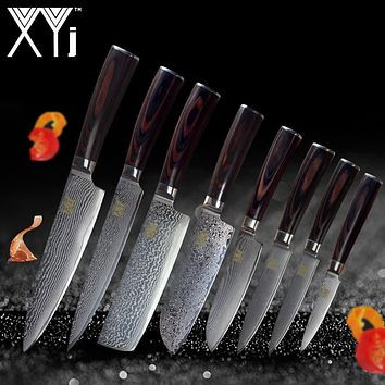 XYj New Year Kitchen Knife Damascus Knives VG10 Core 8 Pcs Sets Fashion Japanese Damascus Steel Beauty Pattern Kitchen Tools