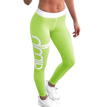 Woman 2017 New Spring Letter Print Sporting Work Out Slim Leggings
