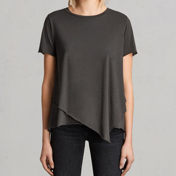 ALLSAINTS US: Womens Daisy Tee (PIRATE BLACK)