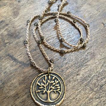 "Tree of Life Knotted Crochet Necklace Rustic Bronze ""Boho Chic"" Bohemian Beaded Jewelry by Two Silver Sisters"
