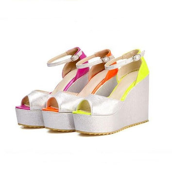 Ankle Straps Platform Sandals Mixed Colors Wedges Shoes Woman