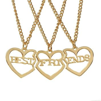 Best Friends English alphabet stitching Pendants Necklace 3pcs/set broken heart Gold/Silver/Rose gold Friendship Necklace