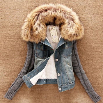 womens warm fur patchwork denim jacket coat girl autumn winter outwear top gift 172