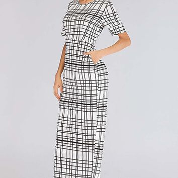Uneven Checkered Slim Fit Straight Long Dress