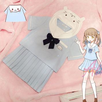 Kawaii Little Seal Theme Japan JK Uniform Suit Soft Baby Blue Sailor Collar Blouse Shirt + Pleated Skirt Lolita with Neck Bow