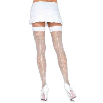 Saturday Night Surprise Sheer Fishnet Mesh Back Seam Thigh High Stockings Tights Hosiery - 3 Colors Available