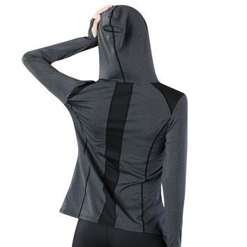 Women Running Coats Female Slim Jackets Sports Hoodies with Hat for Gym Fitness Jogging Long Sleeve Zipper Outerwear