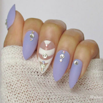 Stiletto Nails | Matte Nails | Fake Nails | 3d nails | Press On Nails | Lilac & White Nails