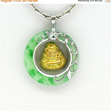 CLEARANCE SALE 40% Off - Buddha Necklace, Green Jade Necklace, Buddha Pendant