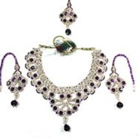 India Bridal Jewelry- Purple Stone Bollywood Designer Indian Kundan Polki Necklace Earring Set, Gift Idea | Mogul Interior