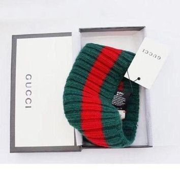 Gucci Trending Red Green Stripe Knit Wool Web Fashion headband