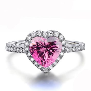 White Gold Plated CZ Heart Pink Crystal Promise Engagement Band Ring R17g