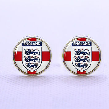 England Football   Cufflinks  -Mens Silver Plated Cufflinks,Accessoires for Man-Mens Gift ,Gift for Daddy ,Best Man