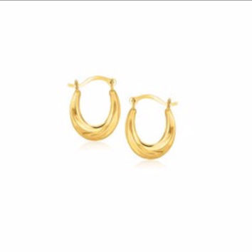 Oval Hoop Earrings in 10K Yellow Gold