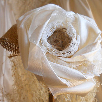 "1 Large 17"" Tall Ivory Rose Flower Stem for weddings, table decor, centerpieces. Ivory silk, lace, burlap and natural twig stem."