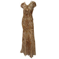 New ROBERTO CAVALLI LIMITED EDITION GOLD EMBROIDERED TULLE GOWN