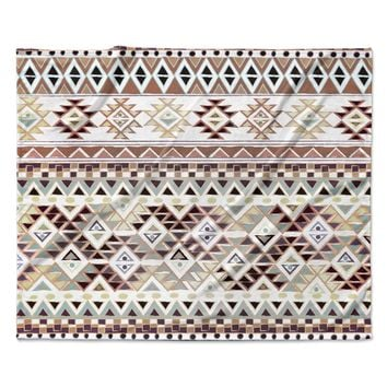 "Nika Martinez ""Tribal Native in Pastel Brown"" Brown Fleece Throw Blanket"