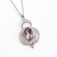 Vintage Sterling Silver Amethyst Cannetille Filigree Necklace - Retro 1960s Large Lilac Purple Oval Gemstone Pendant Charm Statement Jewelry