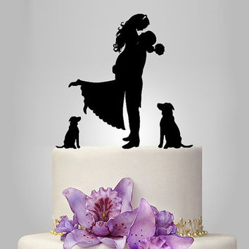 Wedding Cake Topper birde and groom silhouette with two dogs puttf, pets Cake Topper, couple,  funny topper, kissing couple topper