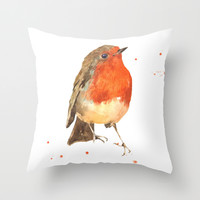 Robin, robin redbreast, songbird, garden birds, Christmas, hostess gift Throw Pillow by Eastwitching
