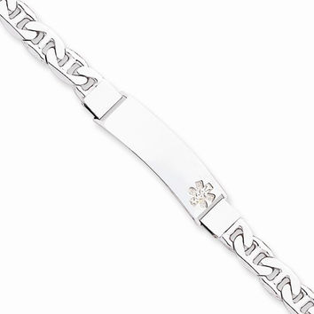 Sterling Silver Non-Enameled Medical Id Anchor Link Bracelet