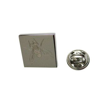 Silver Toned Etched Fly Bug Insect Lapel Pin