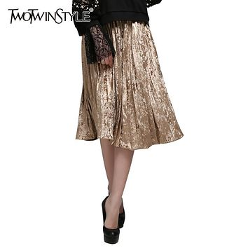 [TWOTWINSTYLE] 2017 Spring Korean Pleated Velvet Women's Skirt High Waist New Fashion Clothing 3 Colors