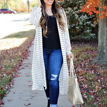 * Talk About Style Knit Duster: Black/Cream