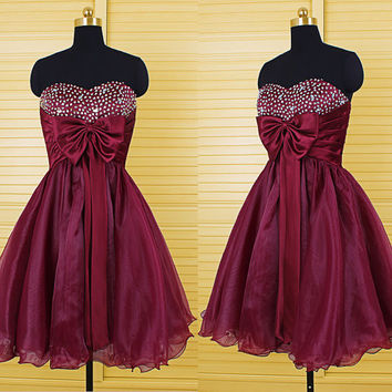 Homecoming Dress,Red Chiffon Strapless Bowknot Beadings Short Prom Dress