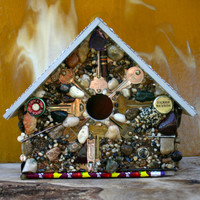 Mosaic  Functional Birdhouse Man Cave Theme Covered in Keys  Stones  Beer Caps and Aluminum Mesh Roof