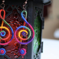 Treble Clef Earrings Colorful Wool Rainbow Colors by elifus