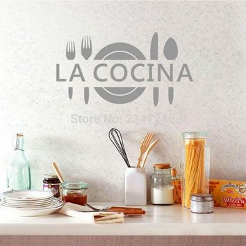 La Cocina Spanish Quotes Wall Decal Art Lettering Vinyl Sticker for Kitchen Decoration