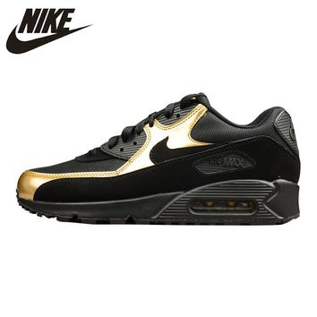 NIKE AIR MAX 90 ESSENTIAL Men's Running Shoes , Outdoor Sneakers Shoes,Black Gold, Non-slip Wear Resistant Breathable 537384 058