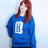 Tardis Sweatshirt - S-2XL - Doctor Who Hipster Girls Teen Shirt Sweater Gift