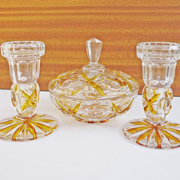 Vintage Art Deco Powder Jar/Jewelry Box and 2 Candle Holders, Rich Amber and Clear Glass Set, UK Seller