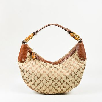 "Gucci Beige & Brown Canvas & Leather Bamboo Ring ""Original GG"" Monogram Hobo Bag"