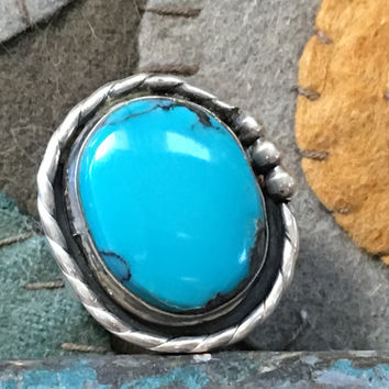 Navajo Turquoise Sterling Silver Ring C. 1960