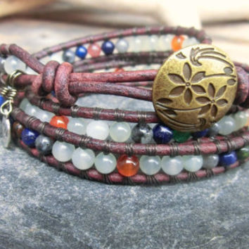 Fading Fall Handmade Triple Wrap Gemstone Bracelet - Good Luck - Calming - Anti depression
